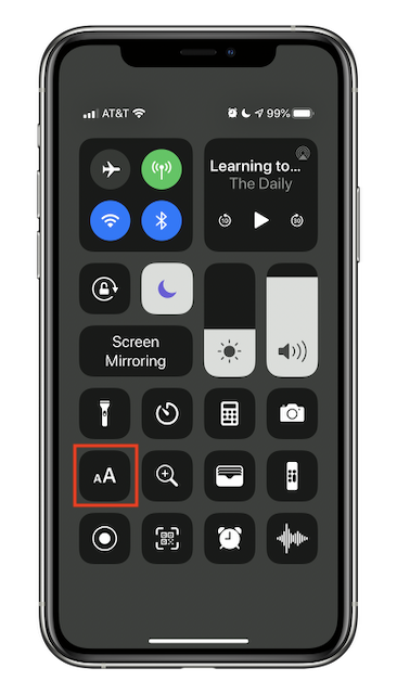 Control Center showing Text Size button