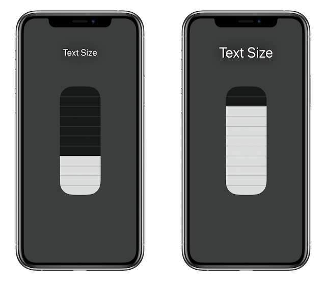 Before and after enlarging text via the Text Size slider in Control Center