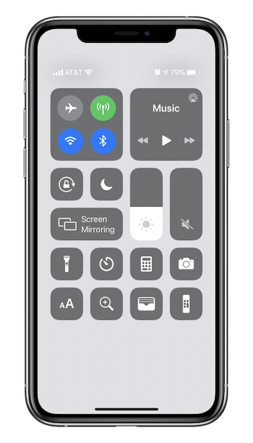 iPhone Control Center, modified to show more items at the bottom