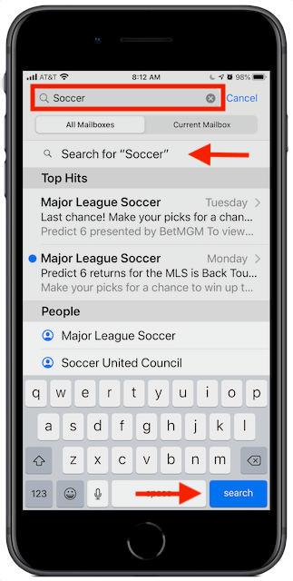 iOS Mail search screen