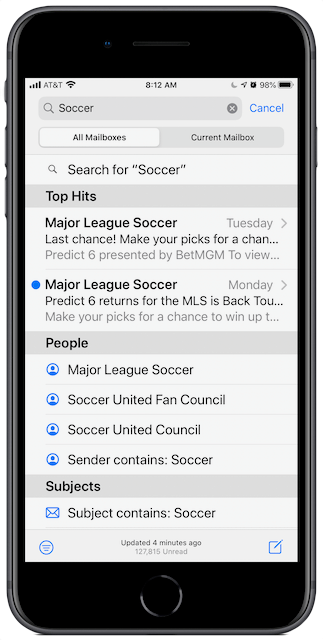 iOS Mail search suggestions