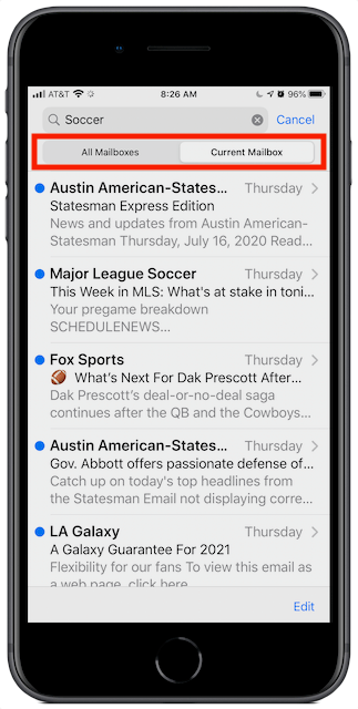 iOS Mail search All Mailboxes or Current Mailbox