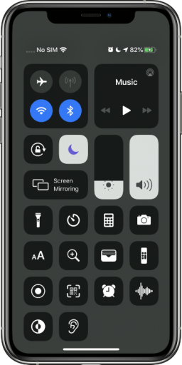 Control Center, showing various settings (and extra stuff via customization)